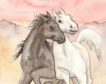 Original Art - The Chariot - Watercolor Horse Painting - Art from The Riderless Tarot