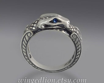 size 7 Ready to Ship - OUROBOROS silver mens unisex Snake ring with Blue Sapphire eyes