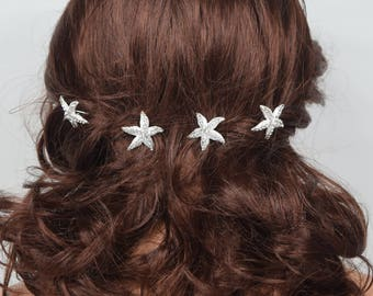 Bridal Starfish Hair Pin Wedding Starfish Hair Jewelry Starfish Hair Accessory Hairpins Set of 4