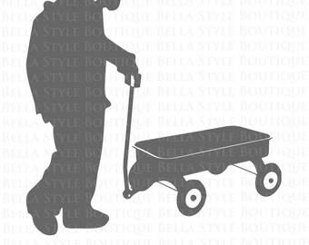 Girl Pulling a Wagon svg cut file