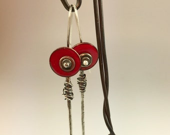 Changeable Red Enamel and Silver Silver earrings