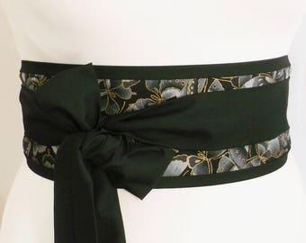 Black and gold butterfly obi belt sash with long black ties - waist wrap for kimono yukata dress robe - Oriental Japanese Japan style