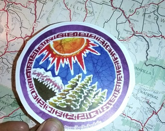 Circle with the Sun, Trees, and Mountain sticker-Vinyl