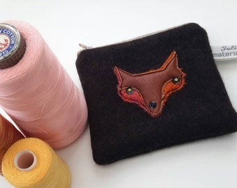 Fox Coin Purse Chocolate Brown Recycled Cotton & Tan Leather