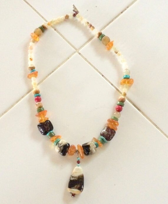 Amber and glass with a little turquoise necklace