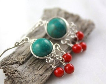 Turquoise and Coral Wrapped Chandelier Earrings