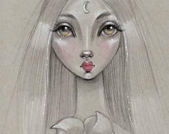 Big Eye Girl with Moonflower - Fine Art Print by Diane Irvine Armitage - Gypsy Bohemian Goddess Lady - Big Eyed Art Sketch - Pop Surrealism