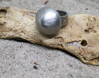 Old Etched Rounded Top Circular Silver African Ring