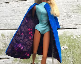 Barbie Doll Blue Corduroy Coat Vintage 1960s Handmade