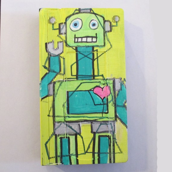 Art Wall Jr Green Jacket : Green robot painting art on recycled vhs tape original
