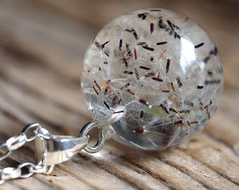 Bridal Dandelion Seeds Resin and Silver Necklace, Medium Dandelion Seeds Pendant with a Long Chain