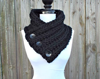 Crochet Cowl - Wellington Cowl in Black Cowl Black Scarf Womens Accessories
