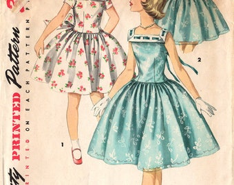 """1956 Girls' ONE-PIECE DRESS Pattern Simplicity #1633 Size 7 Full-Skirt Party Dress Drop Waist """"Simple-To-Make"""" Vintage Sewing"""