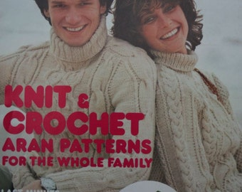 Aran Knitting and Crochet Patterns Mon Tricot Aug Sept 1977 Sweater Turtleneck Men Women Children Baby Vintage Paper Original NOT a PDF