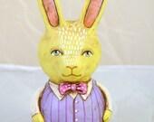 Roly Poly Yellow Bunny Rabbit Original Hand Painted Folk Art Doll Paper Mache Sculpture OOAK
