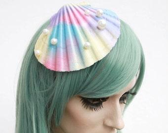 Mermaid oyster fascinator hair slide pastel rainbow