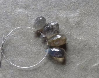 AA Labradorite Faceted  Briolette Drop - 9-11mm - 4 Beads