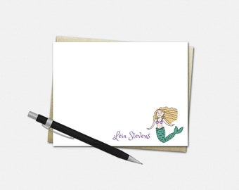 Personalized Note Card Set - Mermaid Note Cards - Set of 10 Flat Note Cards - Custom Stationery for Girls - Gifts for Girls