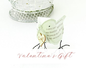 Valentines Gift Cotton Bird i carry your heart with me Green Bird with personalized heart