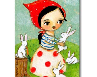 White bunny rabbits ORIGINAL painting Cute Babushka with Bunnies woodland creatures painting sweet baby bunny art by TASCHA