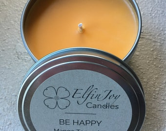 Mango Tangerine BE HAPPY Soy Container Candle