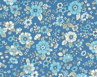 HALF YARD Lecien - Memoire a Paris 2017 - Floral on BLUE 40740-70 - Cotton Lawn - Flowers - Japanese Import