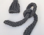 knitted hat and shawl  set grey