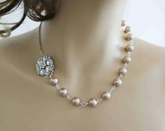 Swarovski Pearl and Crystal Necklace Bridal Rhinestone Necklace Wedding Statement Bridal Jewelry Vintage Art Deco Bridesmaid Necklace  Ivory