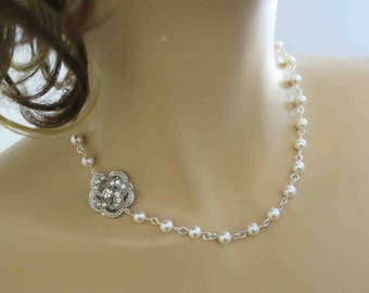 Crystal and Pearl Necklace Bridal Jewelry Wedding Necklace Bridesmaid Jewelry Bridesmaid Gift Necklace Wedding Jewelry Bridal Necklace Rose