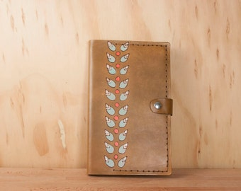 Leather Moleskine Journal Cover - Handmade Refillable Leather Journal in the Petal pattern with Modern Flowers - antique brown