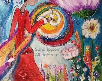 She Brings Home the Light Rainbow White Star Light Beautiful Long Red Dress Field of Wild Flowers