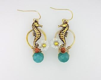 Hoop Earrings, Hoop Jewelry, Nautical Ocean Earrings, Seahorse Earrings, Seahorse Jewelry, Sea Horse Earrings, Amazonite Hoop Earrings