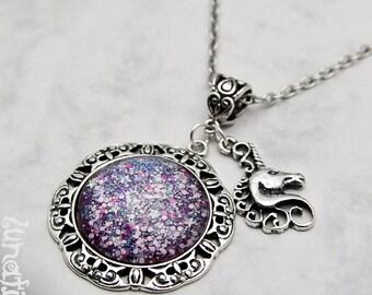 Unicorn Tears Necklace Pendant Charm pink shimmering sparkle Fantasy Fairy Tale Fairytale galaxy under glass handmade fashion jewelry