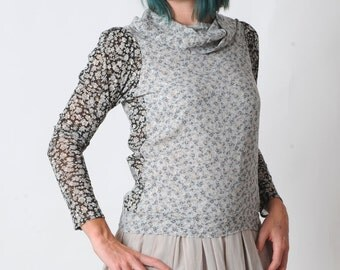 Grey floral top, Womens grey supple top with wide collar, Black floral sleeves, Womens clothing, Womens tops, MALAM, size UK 10 or your size