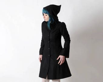 Black winter coat with Goblin Hood and tall collar, Black hooded coat, Black wool coat, Womens winter coat, Womens clothing, MALAM
