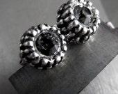 Black Night Crystal Silver Urchin Earrings, Dark Charcoal Grey Gray Swarovski Crystal, Small Petite Black Antiqued Silver Stud Post Earrings