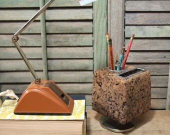 Retro Folding Desk lamp Burnt orange brown two way switch works great, exc condition