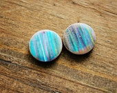 Set 3 Drip Experiment Coin Bead on Natural Wood (2 beads)