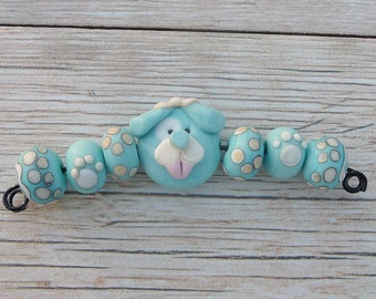 Handmade Lampwork Glass Bead Set Dog bead Puppy bead Paw print bead Pets Animal bead Furry friends Artisan bead Generationslampwork, SRA
