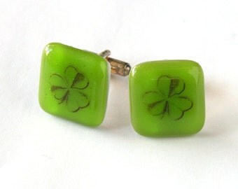 Lucky You! - Shamrock Cufflinks - Spring Green Glass with Vintage Clover Leaf - Men's Gift - Gift for Him - Lucky Day