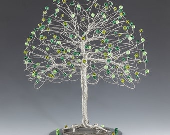 Tree Cake Topper with Swarovski Crystal Elements Green on Silver Gold or Copper Tone Wire Emerald Olivine Peridot