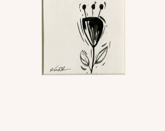 Abstract Flower Painting,  Black Illustration  art, Easter Watercolor Painting in 5 x 7 mat Minimalist Abstract art Kathy Morton Stanion