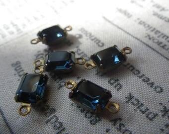Swarovski Montana Blue Vintage Octagon 8x6mm Glass Connectors Brass Ox Two Loops 6 Pcs