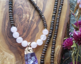 Amethyst Crystal Pointed Pendant Necklace - Long with Rose Quartz and Coconut Wood -  Purple Pink Gemstone Beaded - Bohemian - Boho Festival