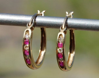 "10K Yellow Gold Ruby & Diamond Hoop Earrings - 3/4"" Diameter"