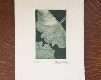 Original Art Print Etching on Cotton Paper - Ginko I