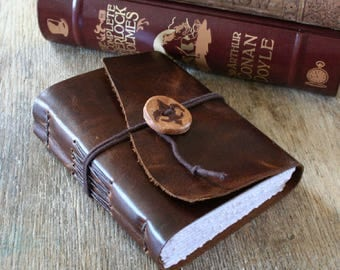 "Leather Journal . Victor Hugo quote ""Les Miserables"" . handmade handbound . distressed copper/dark brown (320 pgs)"