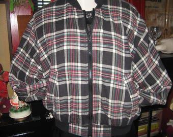 1980s 80s Oi girl Ska punk grunge plaid flannel bomber jacket coat M