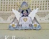 white Christmas - Christmas ornament - reindeer angel house - NO506