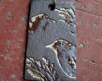 Rustic Birds Stoneware Pendant 1
